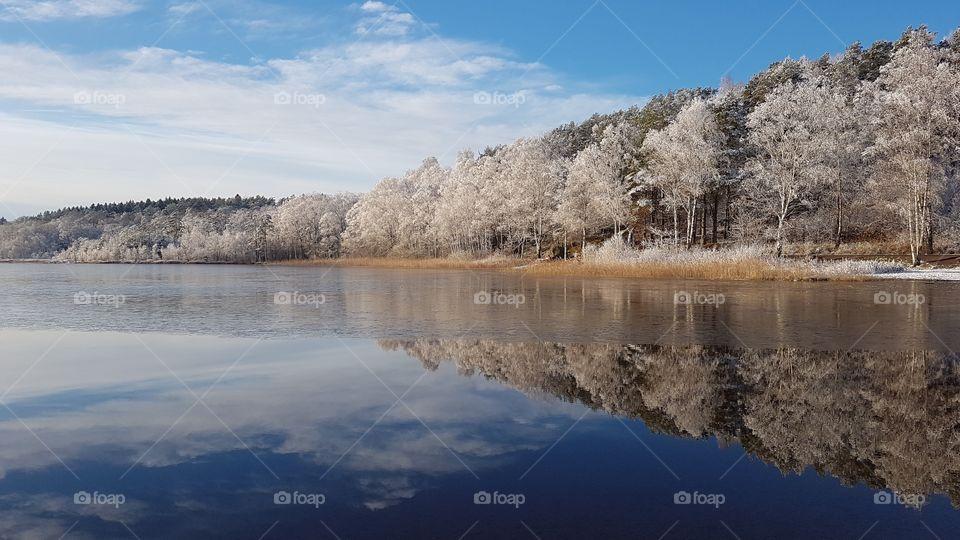 Beautiful winter landscape in snow, forest reflection on the lake - vackert vinterlandskap i snö , skog reflektion på spegelblank sjö