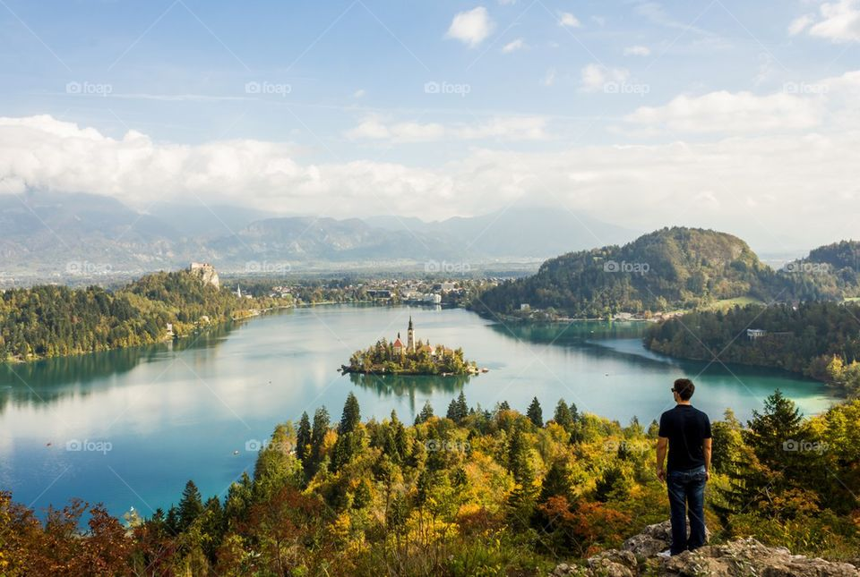 Beautiful Bled lake with island and castle