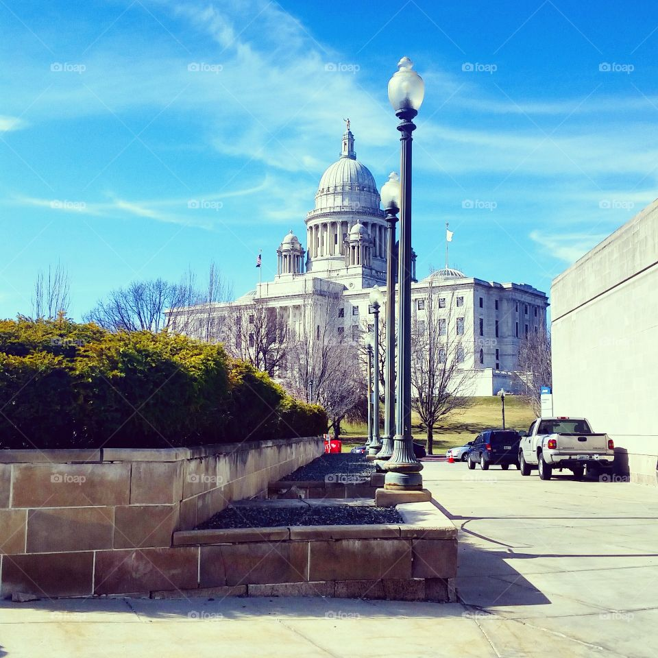 Capitol . Rhode Island State House on a sunny spring day