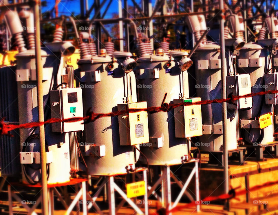 Electricity transformers at a power station