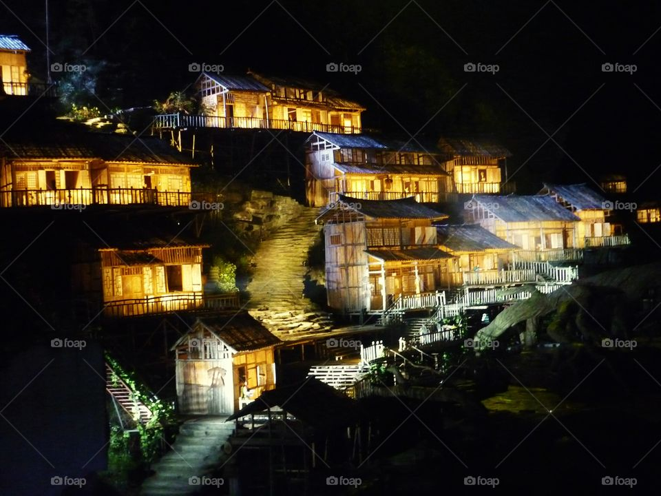 Beautiful night view of village in China, high up on the mountains.