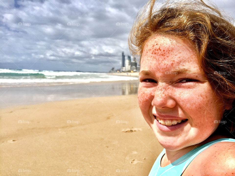 Close-up of a girl on beach
