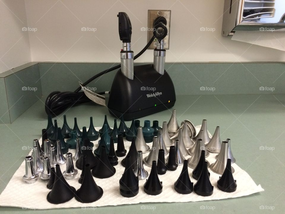 Various tools of the trade for Medical doctor of ears
