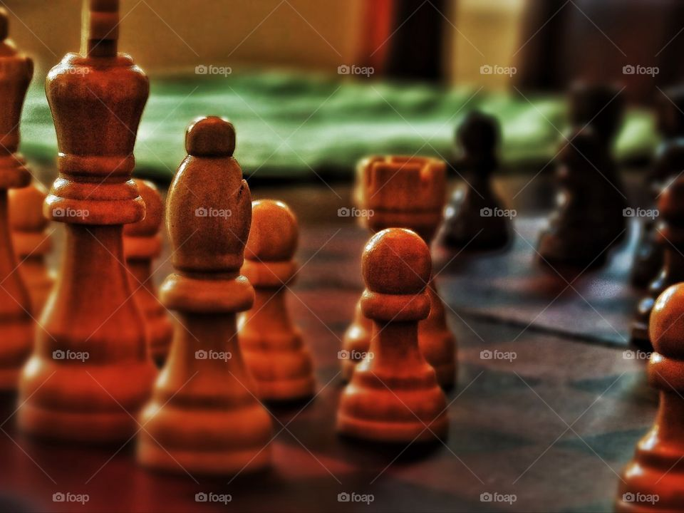 Chess pieces in play