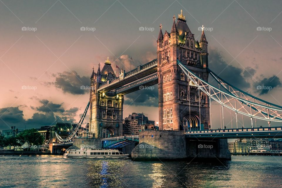 Tower Bridge on the river Thames in London, England- view at night