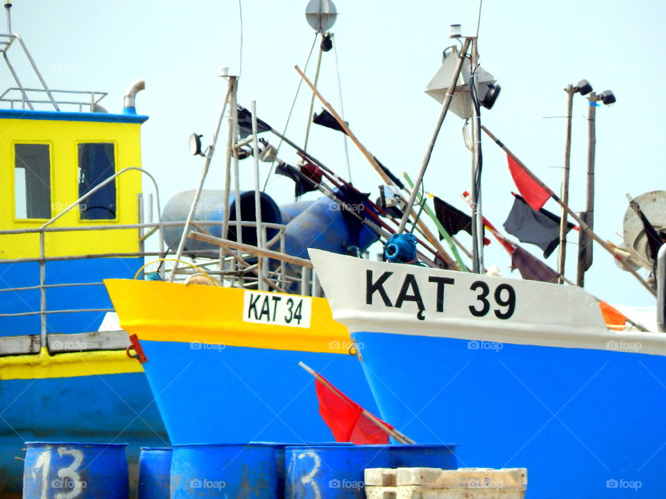 Fishing boats in Kąty Rybackie in Poland