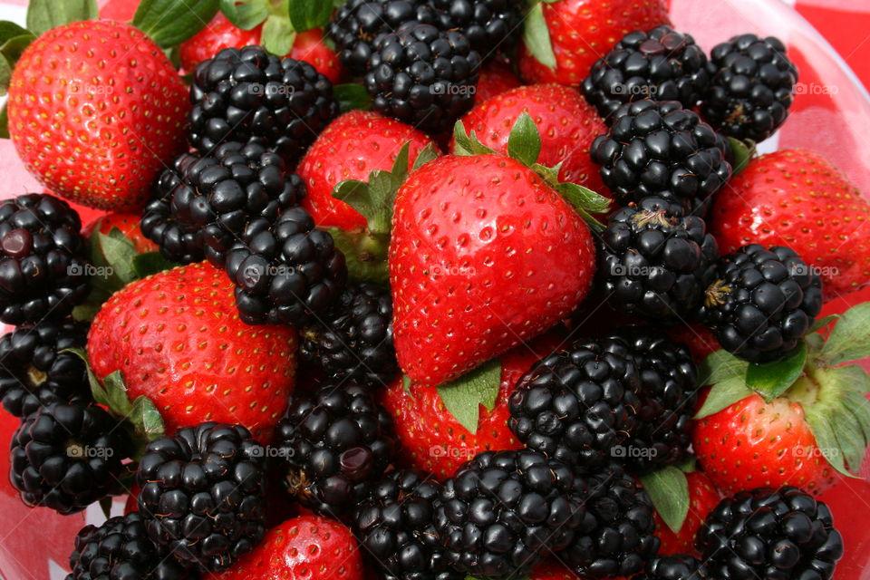Delightful Berries . Strawberries and Blackberries