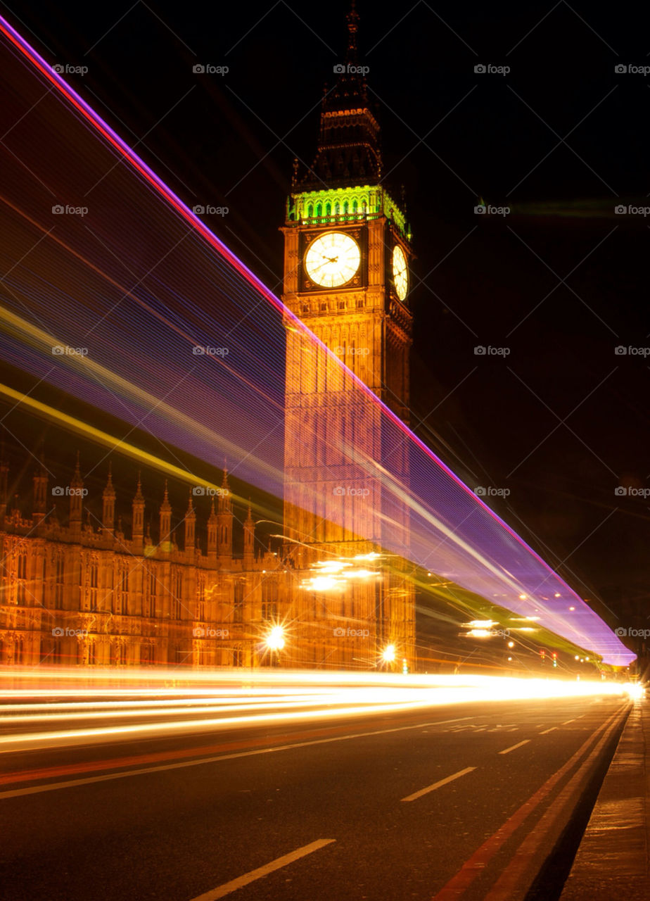 London Big Ben as the phot was taken a party bus went by creating this