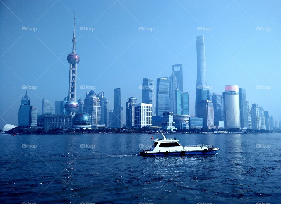 Skyline of PuDong in Shanghai on 2015