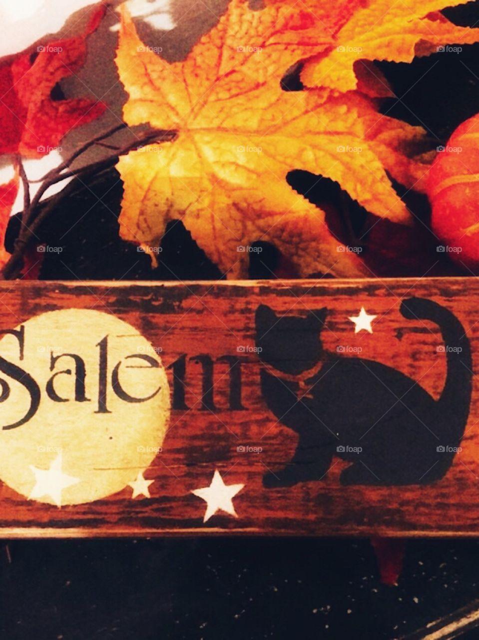 Wooden rectangular Halloween sign handcrafted Salem moon cat star Halloween stencil autumn colors