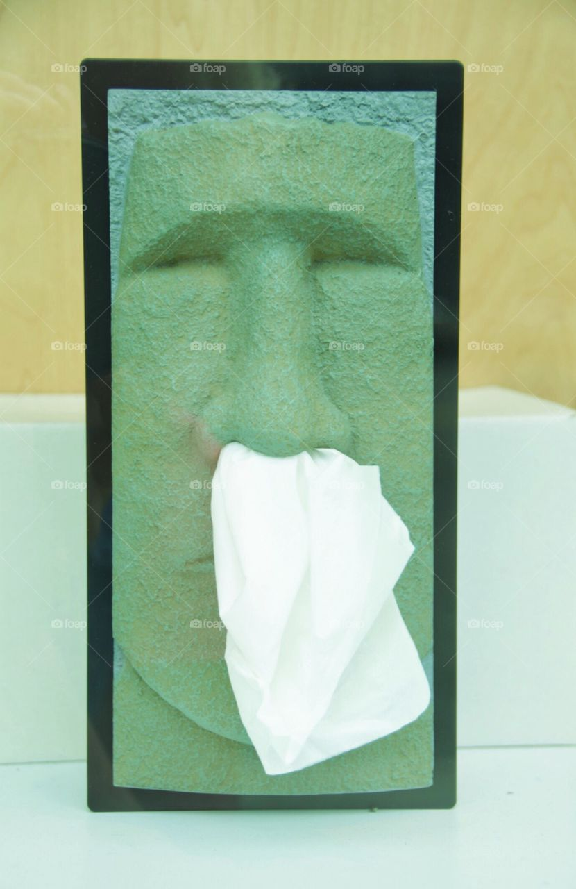 Pop of green easter Island head Kleenex dispenser