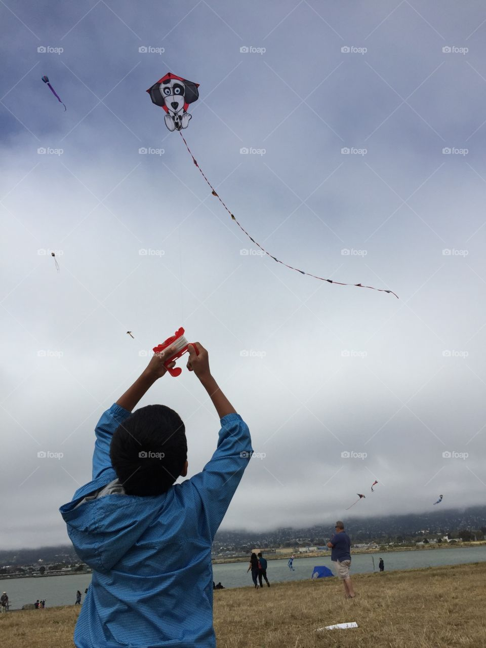 Kid flying kite on a breezy day