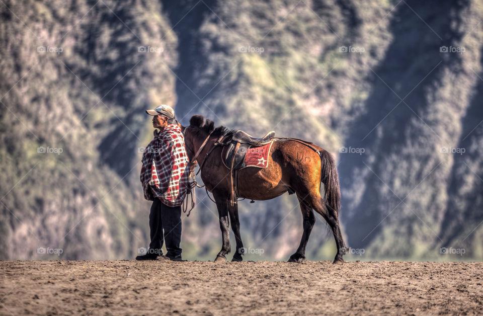 Horseman of bromo sands