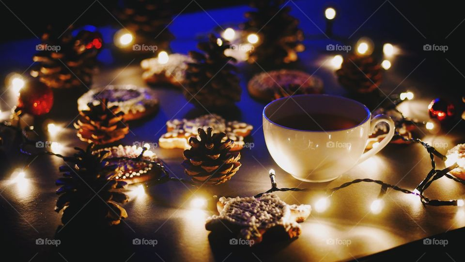 Tea cup with christmas decoration