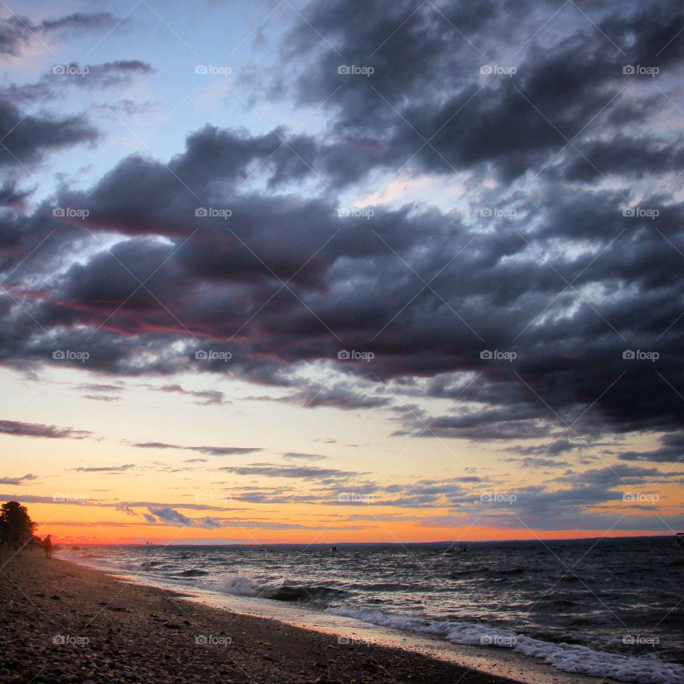 Dramatic sunset over beach