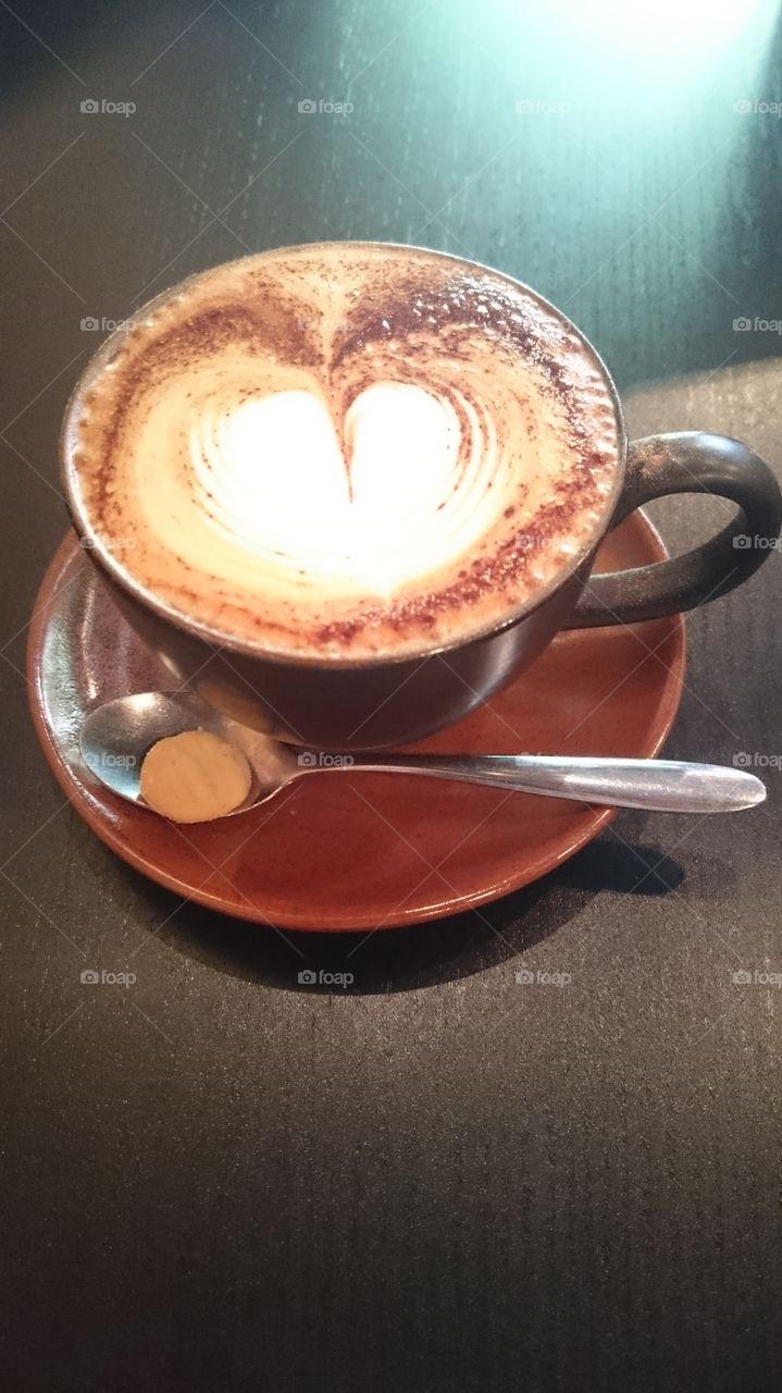 cappuccino. valentines breakfast