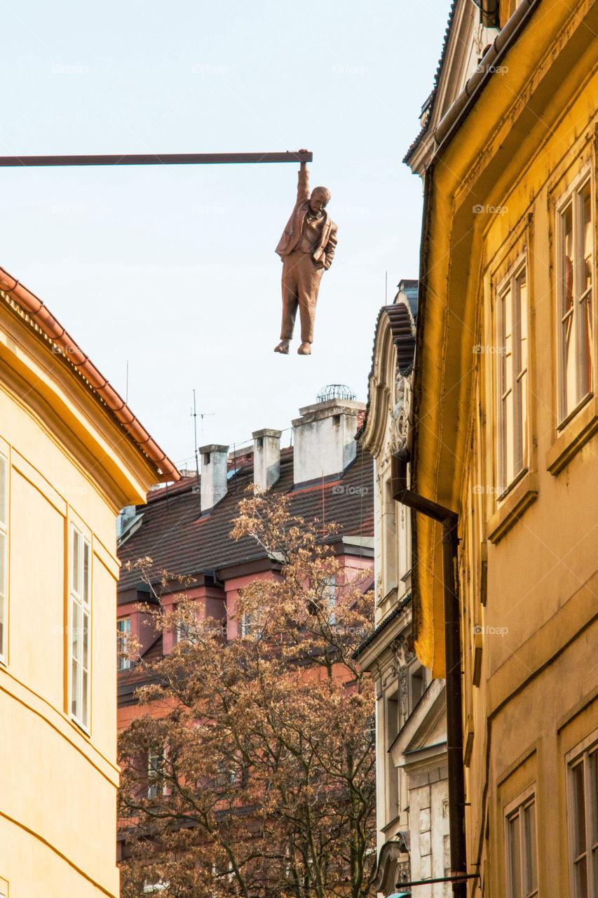 Hanging man in Prague
