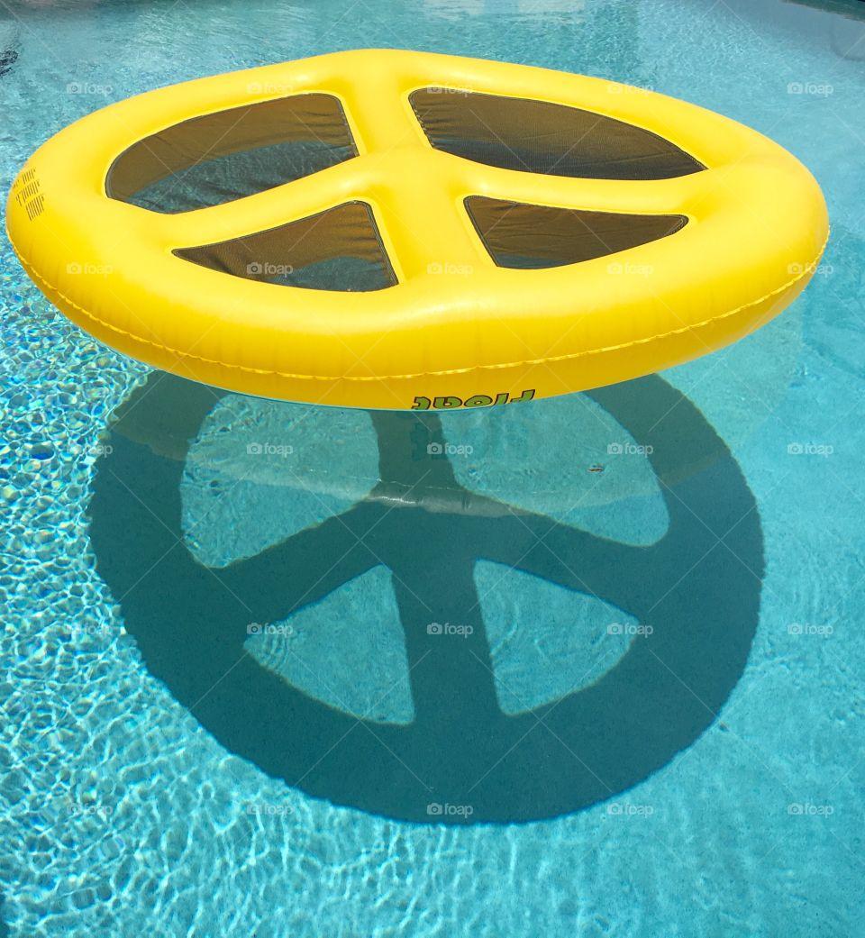 Peace raft pool reflection
