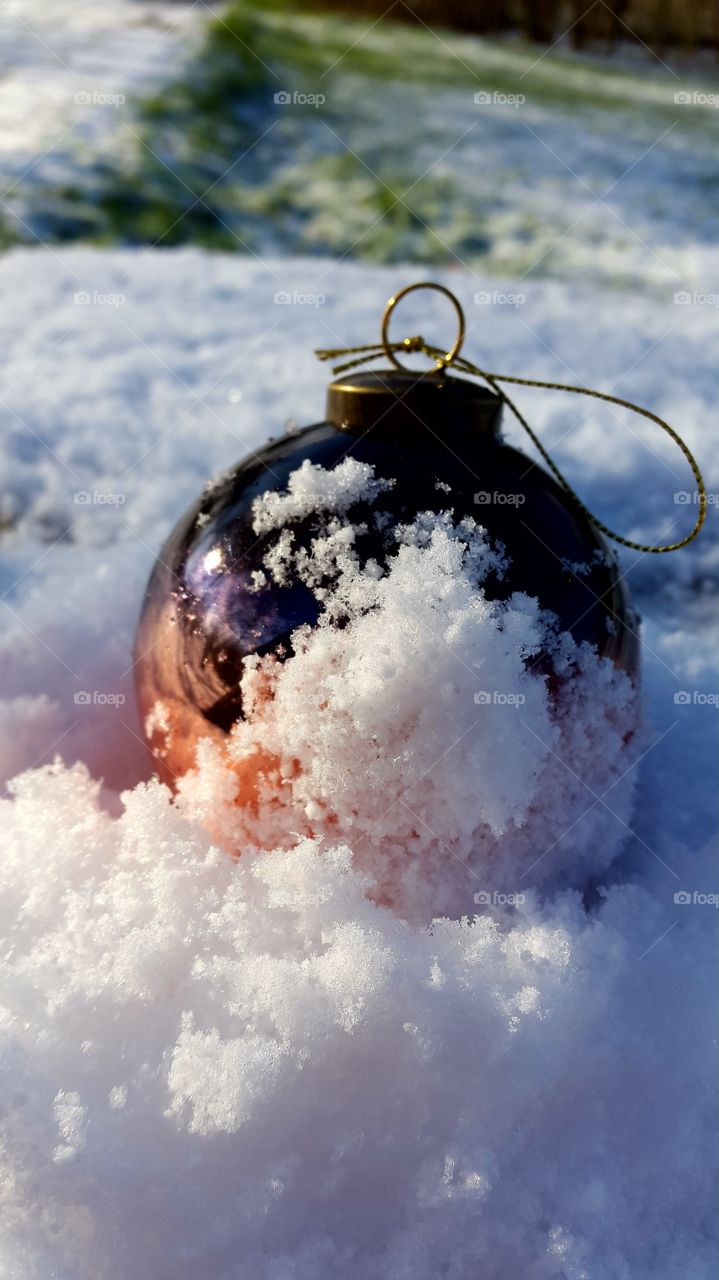 Christmas bubble in winter