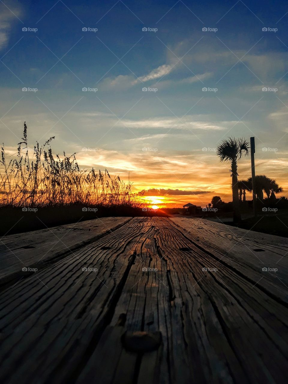 sunset view from wooden bench at Ponce Inlet,Florida