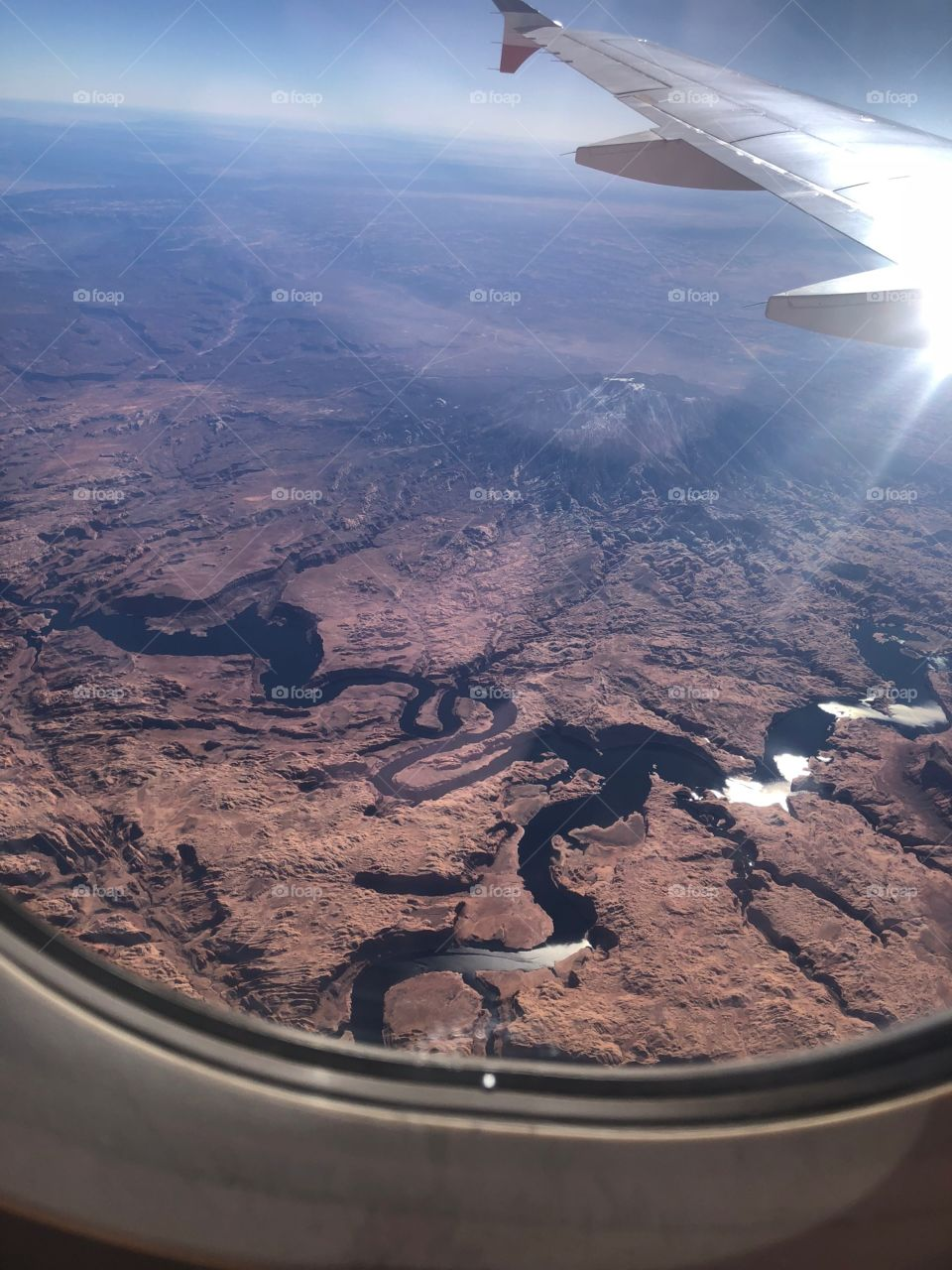 Grand Canyon from above on a flight to Las Vegas