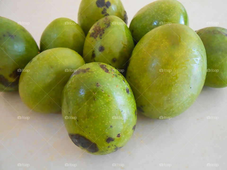 Ripe Green Skin Mangoes Closeup