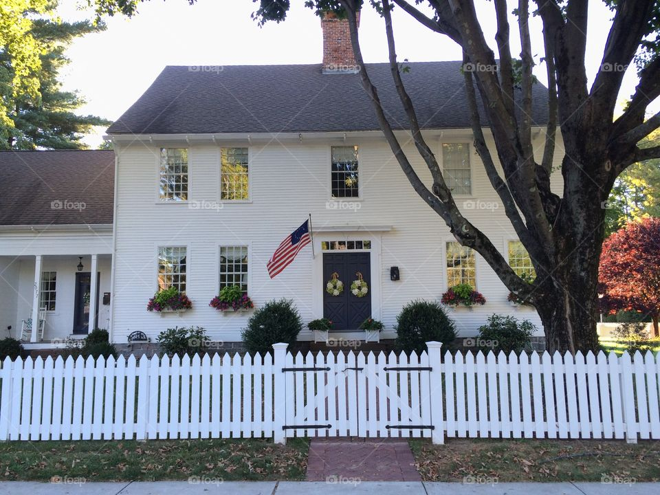 Historic New England Home. Main Street colonial home in Glastonbury, CT.