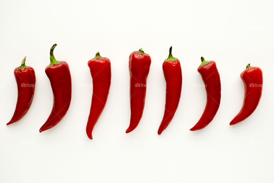 Red Peppers in a Row
