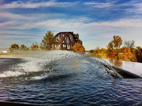 sky water fountain bridge by jimhughesphotography