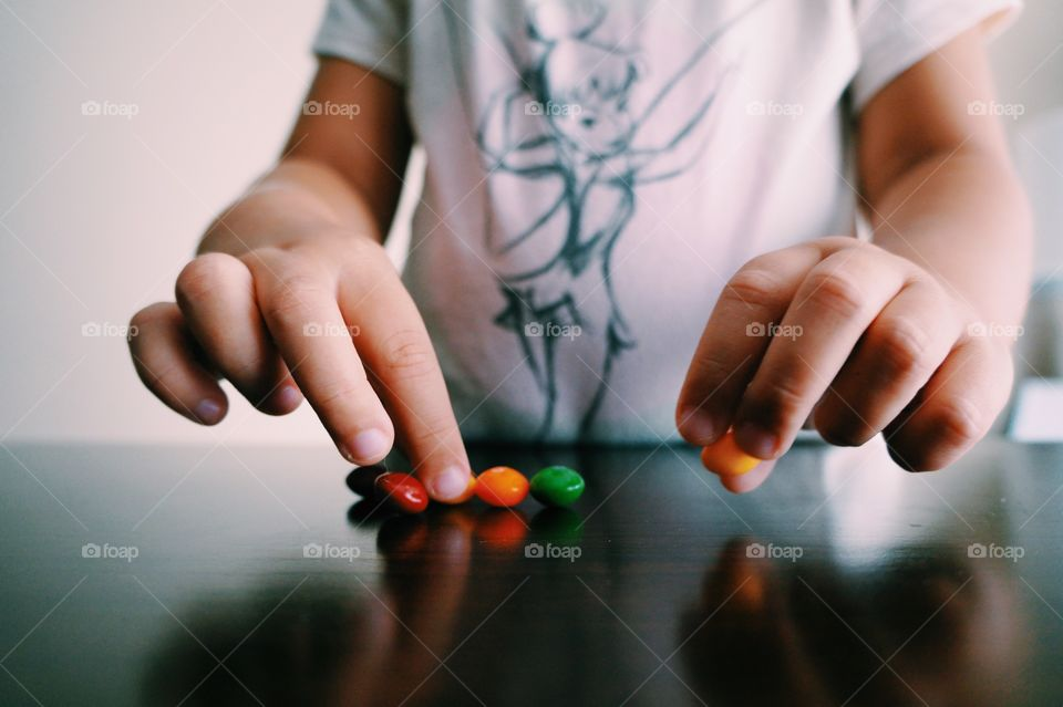 Counting her skittles