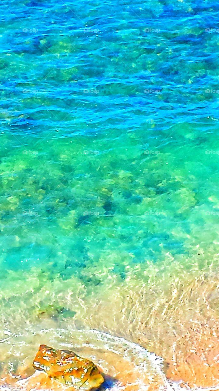 Clear Turquoise Waters. Clear Turquoise waters on @ beautiful summer day in Laguna Beach.