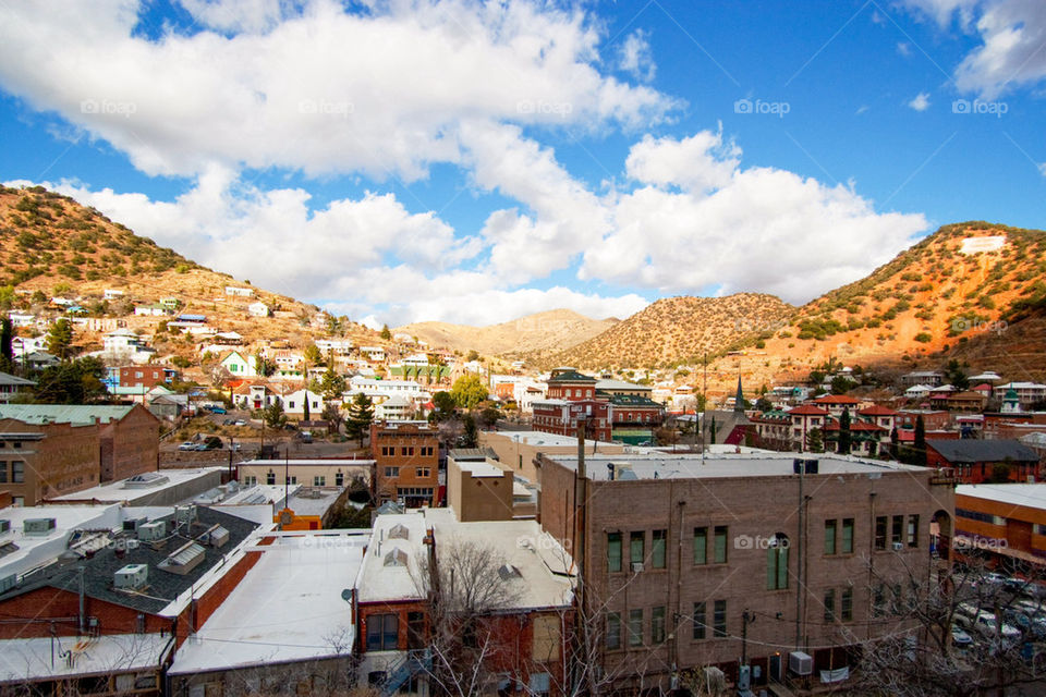 View of buildings at small town bisbee arizona