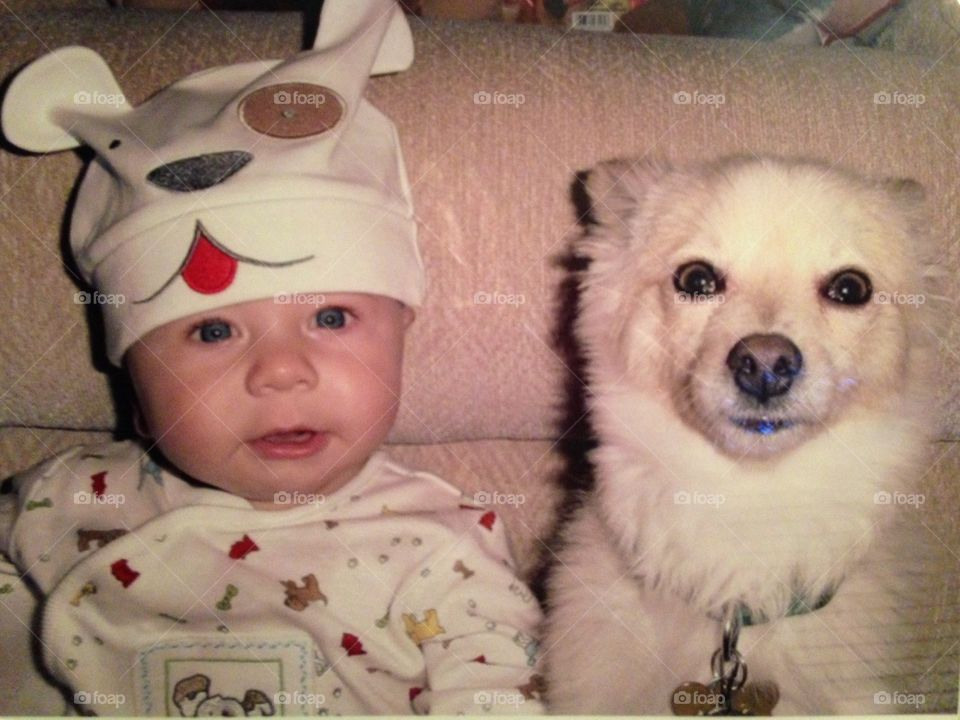 Puppy Love. My son had this cute dog outfit so I snapped a picture of him next to our dog.  They were best friends!!!