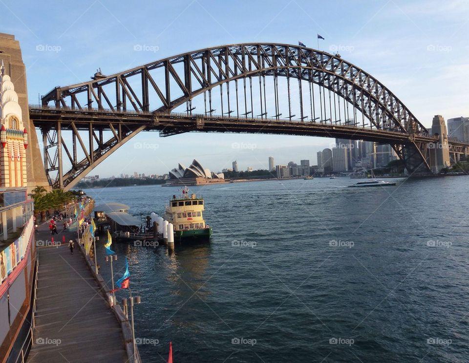 Sydney bridge, opera house in the background, Sydney Australia
