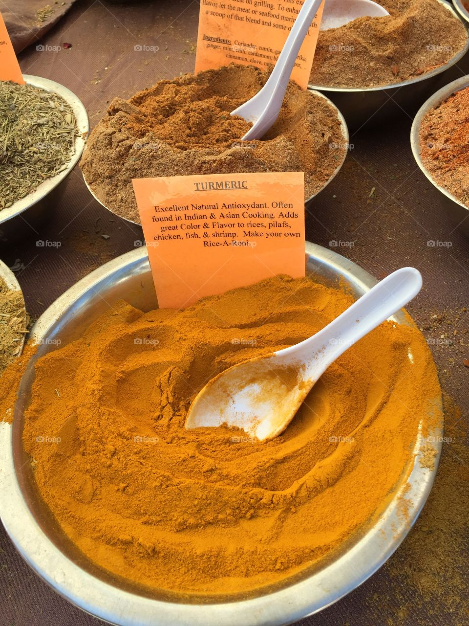 Shopping for spices, turmeric.
