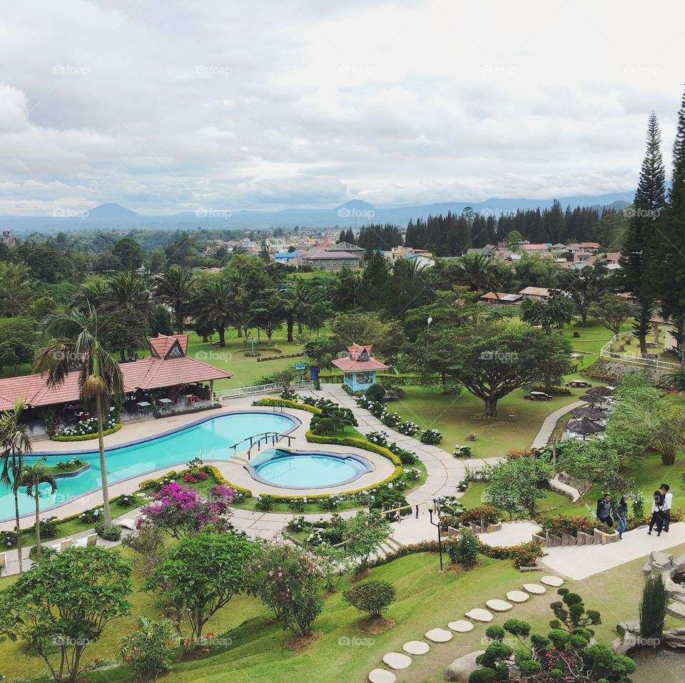 The grounds of the Sinabung Hills Hotel in Medan, Indonesia