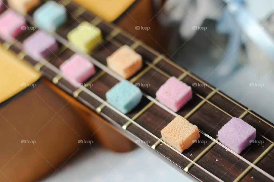 guitar sugar cubes colorful