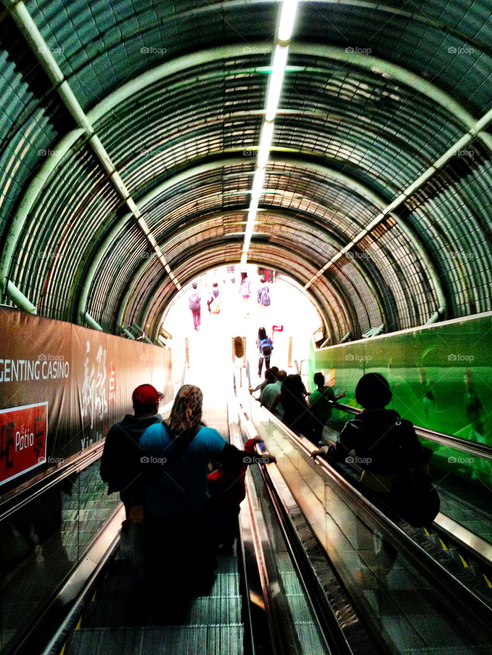 tunnel lights resort escalator by herry