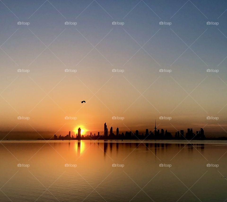 Chasing the golden hour of Sunrise over Sheikh Al Jaber Causeway, Kuwait