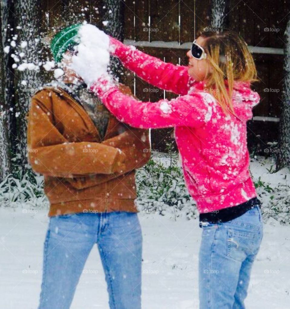 Snow in the face!