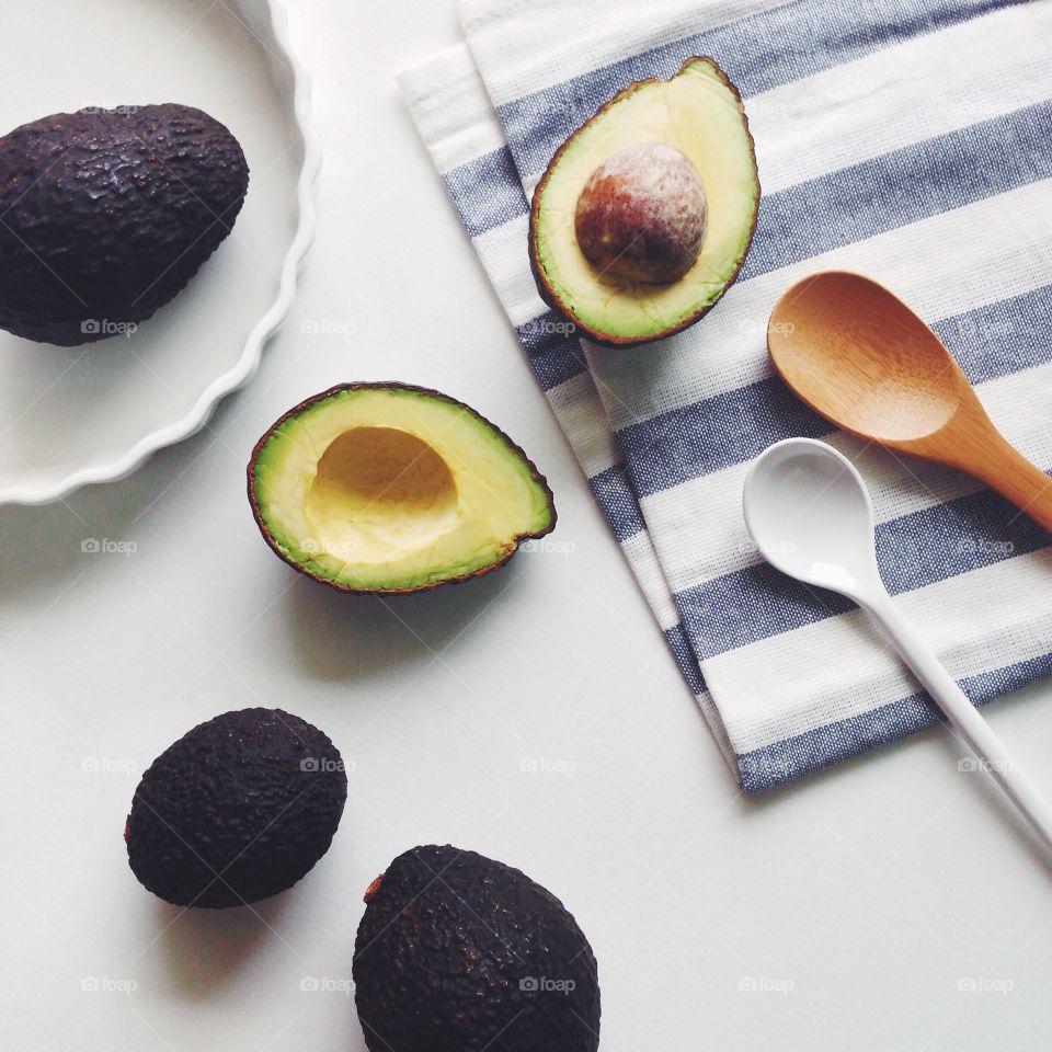 High angle view of fresh avocados
