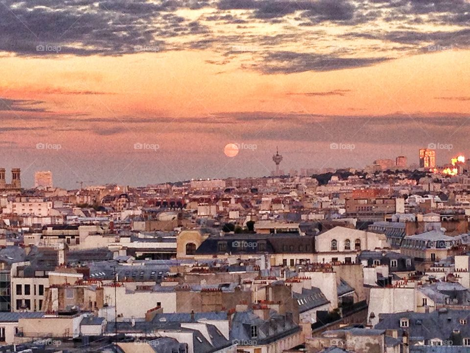 View of paris at sunset