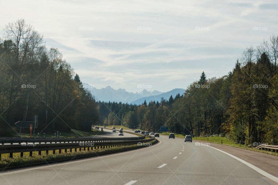 German autobahn in fall