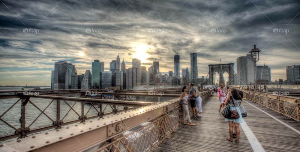 usa new york brooklyn bridge skyscrapers by paulcowell