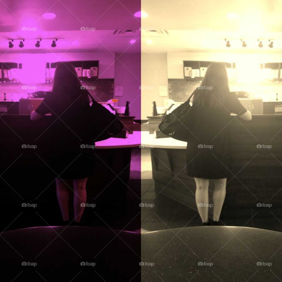 Girl Waiting For Drink at Starbucks in Manhattan. Photo Collage. Sepia and Pink Filters. Taken on Galaxy S7 Android Phone. Layout App. June 2017.