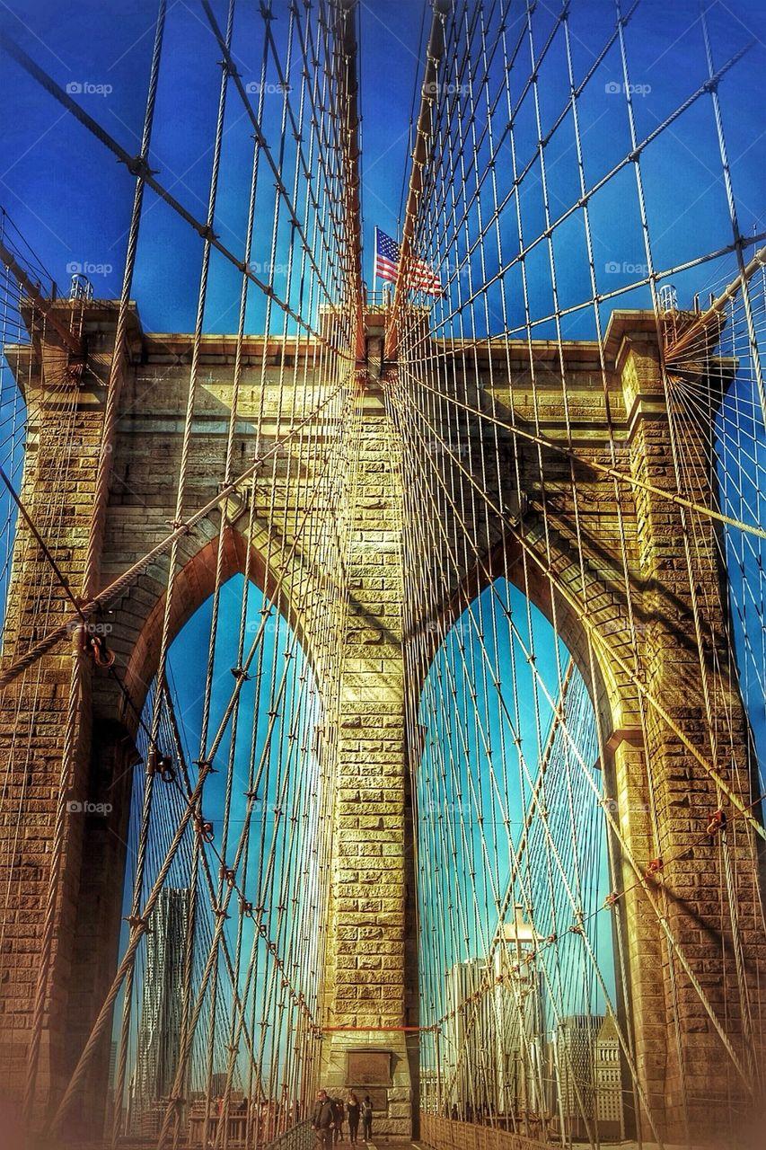 Close-up of Brooklyn bridge at New York