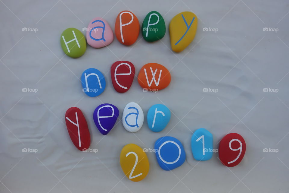 Happy New Year 2019 with colored stones