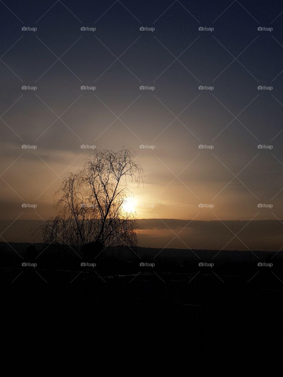 Sonnenuntergang  in Februar