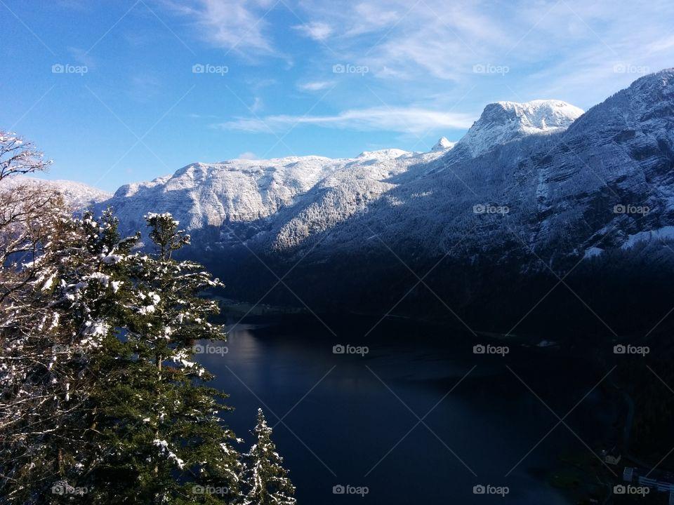 Idyllic lake during winter