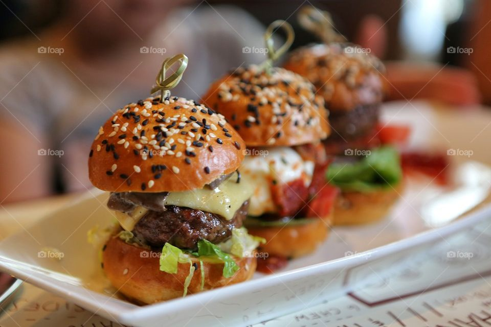 Burger on tray